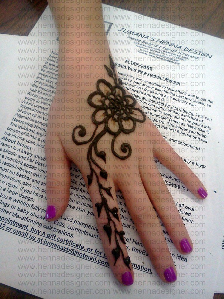 Simple Henna Tattoo On Hand: Arabic Style Simple Henna Design On Hand