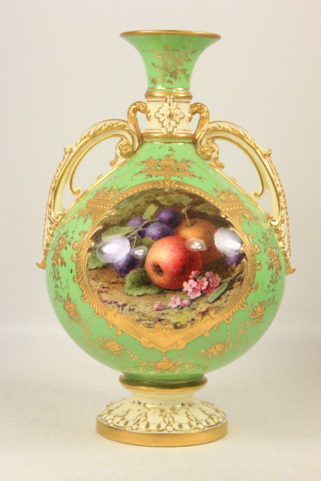 ANTIQUE COALPORT vert pomme vase peint main Fruits par Frederick ...