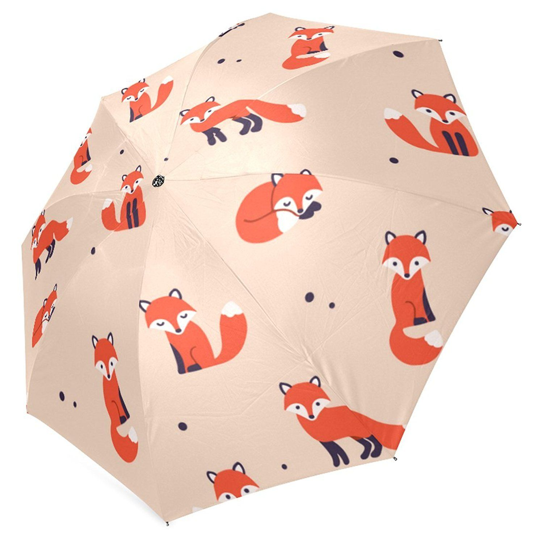 Amazon.com | InterestPrint Cartoon Cute Fox Polka Dot Foldable Travel Rain Umbrella | Umbrellas