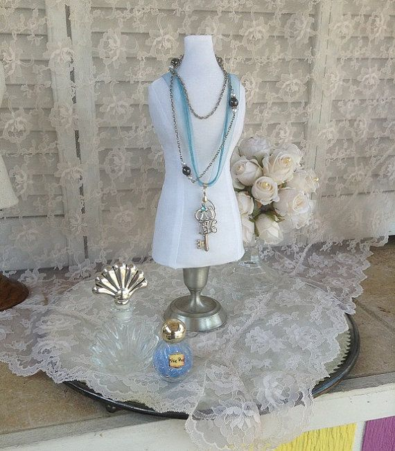 Necklace Stand Mannequin Dress form Jewelry Organizer Fabric Bust