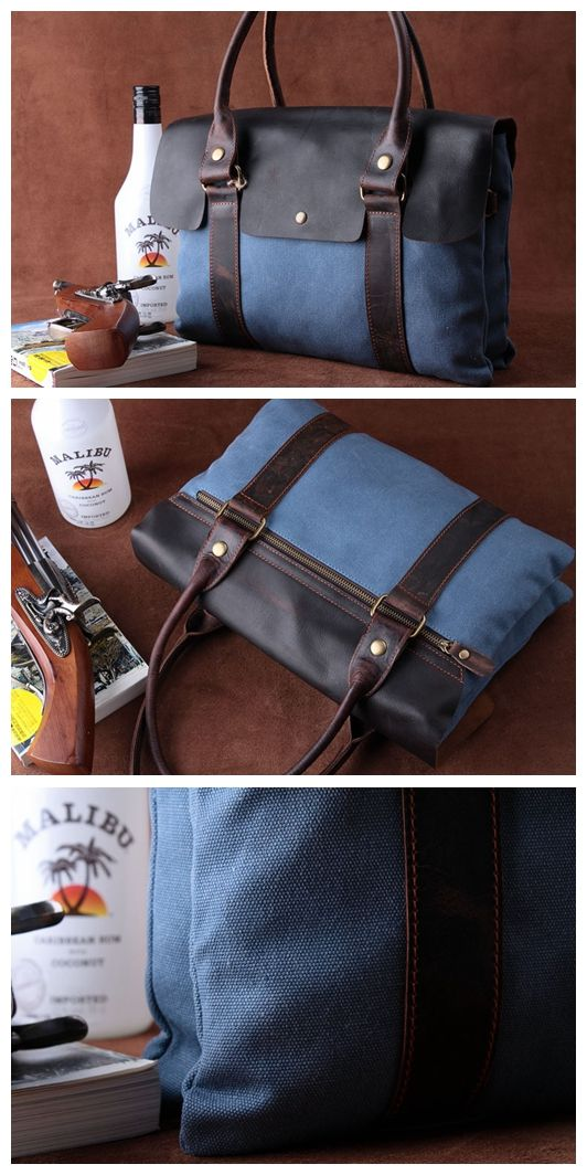 b8d682eaae38 Canvas Leather Briefcase Messenger Bag Shoulder Bag Laptop Bag ...