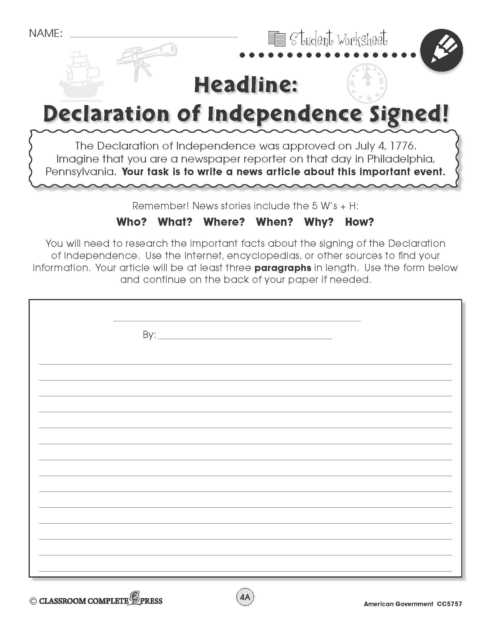 worksheet Declaration Of Independence Worksheets write a newspaper article about americas signing of the declaration independence in this free activity