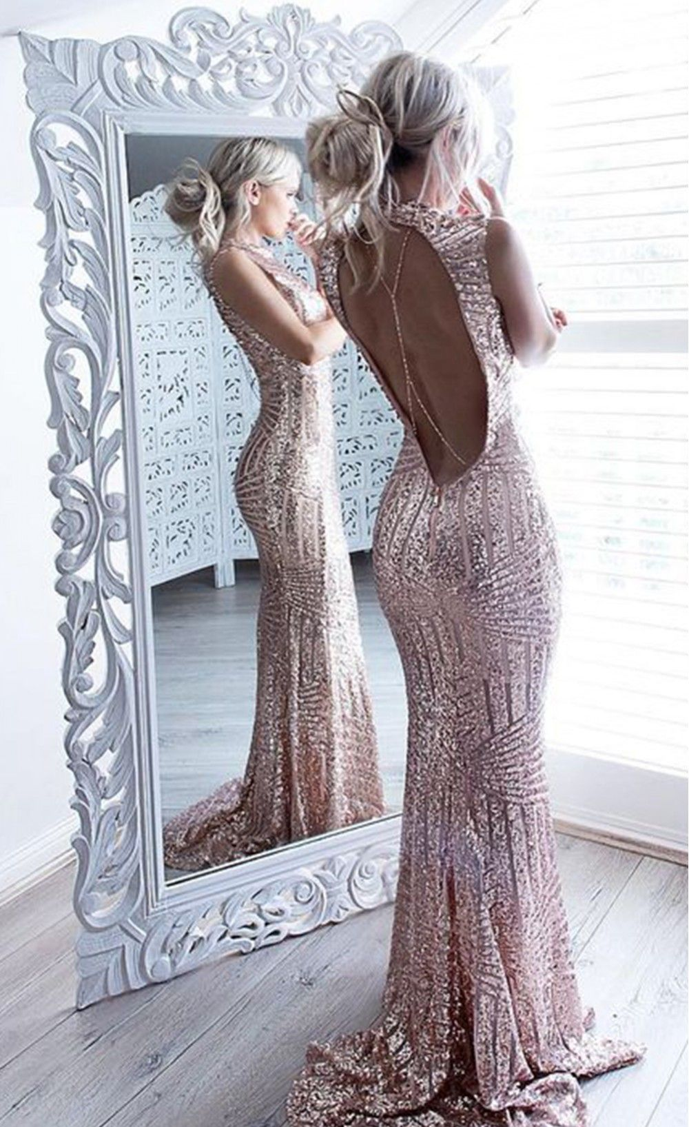 Blush sequins keyhole back party gown pretty things pinterest