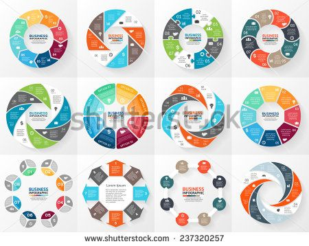 Vector circle arrows infographics set Template for diagram, graph - circle template