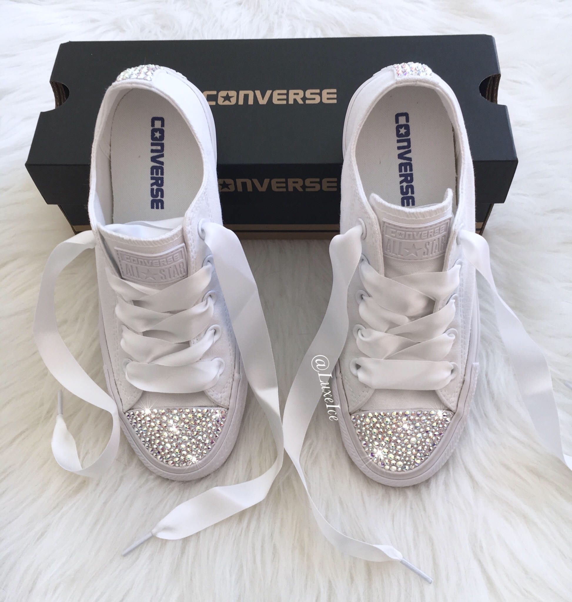 c9364169d3be Wedding bridal mono white custom crystal bling converse sizes 3 8 – Artofit