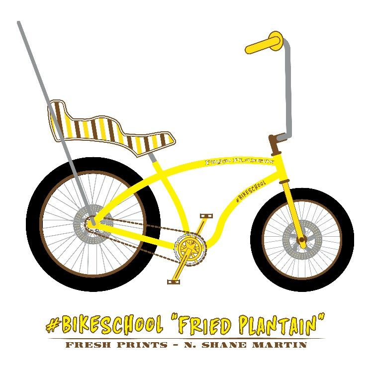 """#Bikeschool """"Fried Plantain"""" Fat Bike concept  A discussion started during #bikeschool recently and this is one of the visual representations of it. The rear is a 26x4 Surly Clown Shoe/BigFatLarry and the front is a 20x4 from the WalMart mini fat bike, disc brakes, king/queen seat, ape hanger handlebars. Based on a Schwinn Stingray and a few fat bikes. Drawn with Adobe Illustrator CS5."""