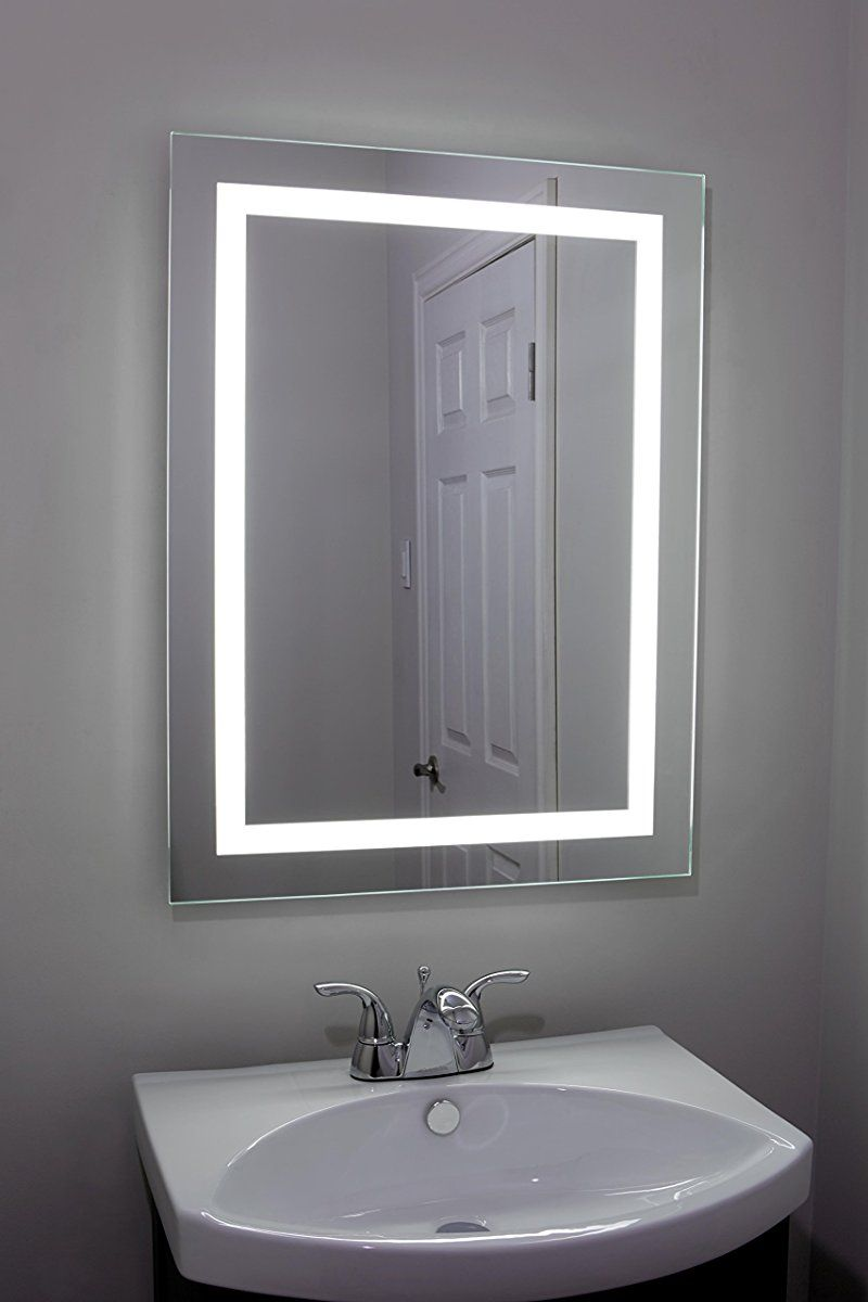 Lighted And Illuminated Large Beautiful Decorative Wall Mounted Frameless Professional Makeup Mirror For Bathroom Or Vanity Back Lit Led 24 X 32 50 000 Hour Modern Bathroom Decor Modern Bathroom Bathroom Sink Decor [ 1200 x 800 Pixel ]