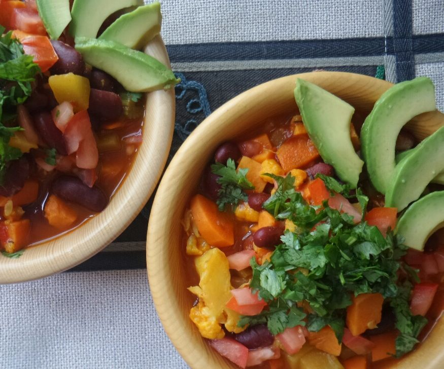 This is an easy, very delicious and healthy vegan recipe for a vegetable chili featuring cauliflower and yams as some of the main ingredients! It's flexible - you can add or subtract some of these vegetables, and just use this recipe as a guide. Here are the main steps involved!