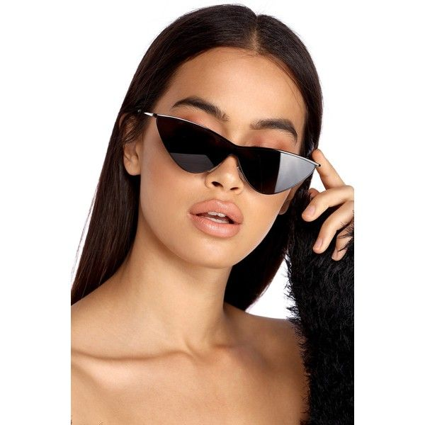 Black Edgy Cat Eye Sunglasses ($11) Liked On Polyvore