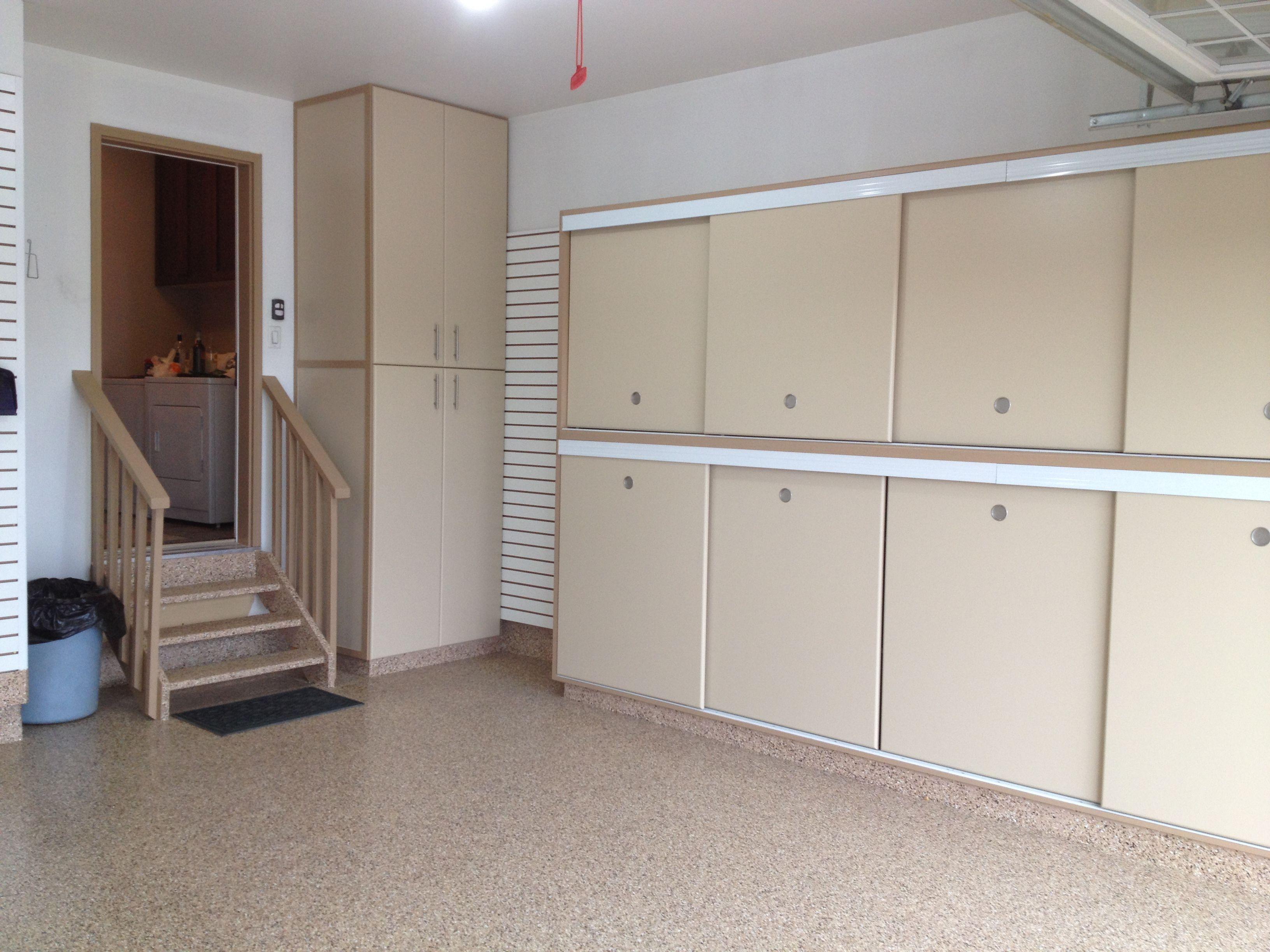 Gerry Garage Slotwall Epoxy Floor Custom Cabinets Sliding Doors