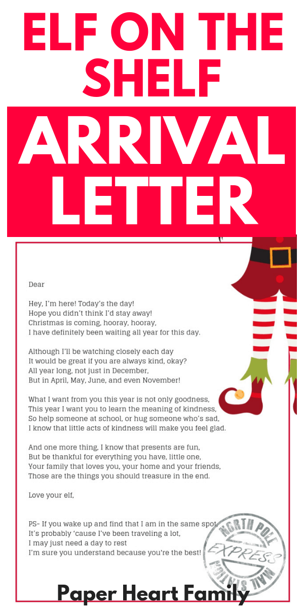 Arrival Ideas For Elf On The Shelf- Welcome Letter |