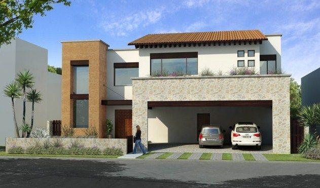 fachadas de casas modernas con cantera y teja