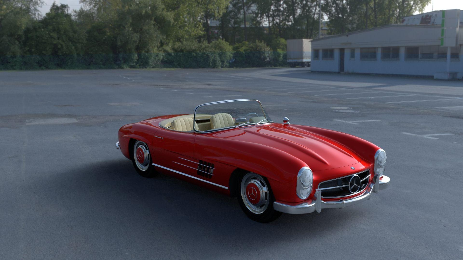 Fully Modelled Mercedes 300sl Roadster Red Hdri Mercedes 300sl