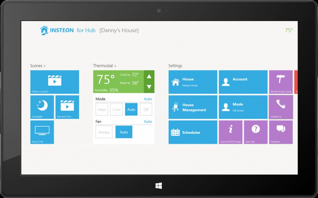INSTEON for Hub Windows 8.1 app Home Dashboard