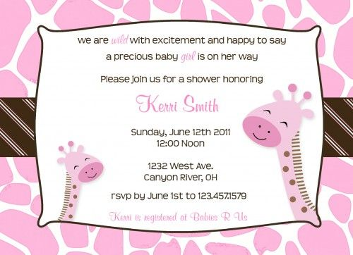 baby girl shower invitations free printables | printable pink and ...