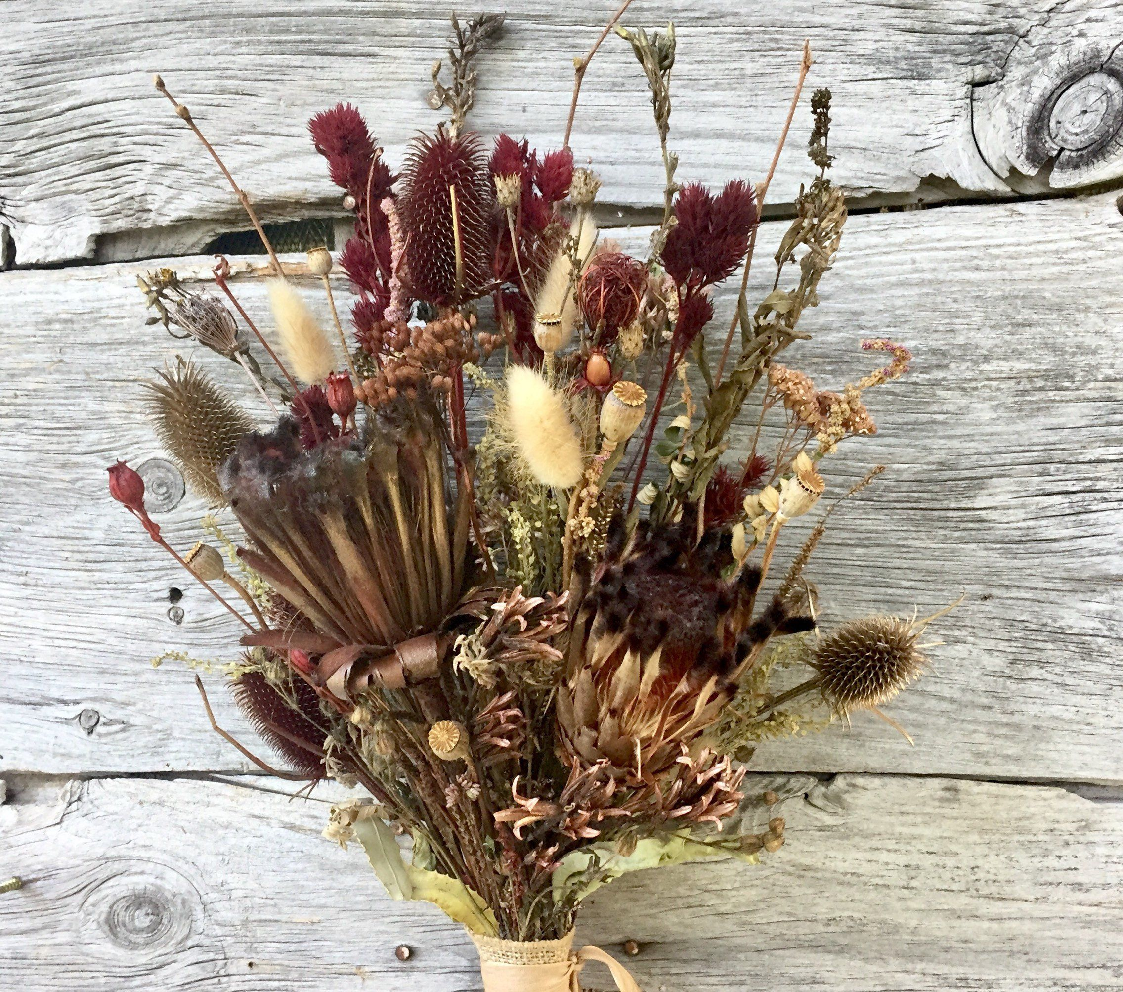 Vintage Protea Dried Flower Bouquet Burgundy Gold Bronze Blush Rose Brown Thistle Pods Dried Flowers Dried Flower Bouquet Flowers Bouquet