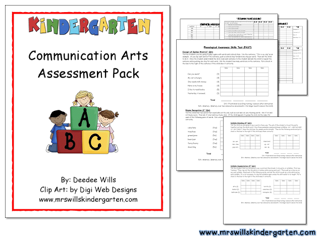 Mrs. Wills Kindergarten: Assessments and Report Cards (Free)