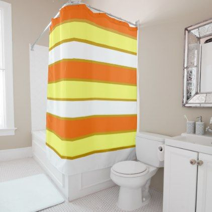 Orange Yellow And White Stripes Shower Curtain
