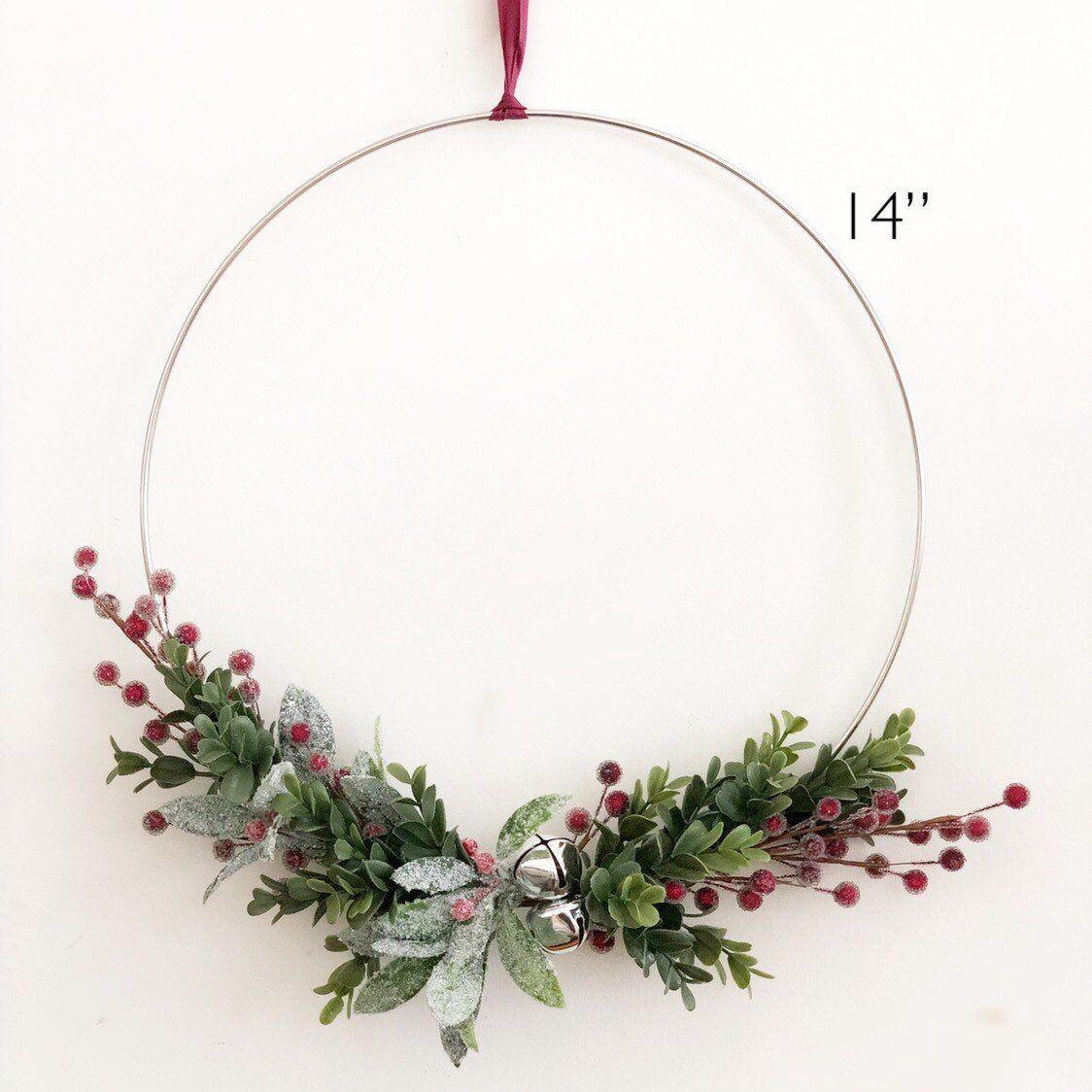 "Photo of 14 ""or 19"" minimalist Christmas wreath, modern Christmas wreath, tire wreath for Christmas, minimalist Christmas wreath"