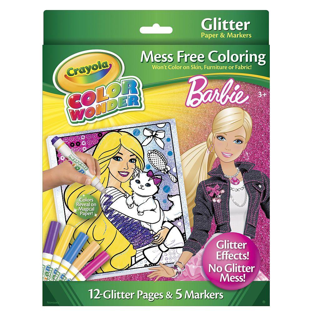 Crayola Color Wonder Mess Free Glitter Coloring Set - Barbie ...