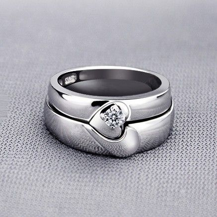 Magnetic half heart shaped wedding rings with custom engraving magnetic half heart shaped wedding rings with custom engraving junglespirit Choice Image