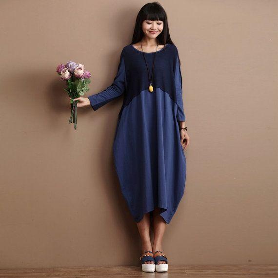 Lässig Loose passend lange Ärmeln Baumwolle langes Kleid - Blue ...
