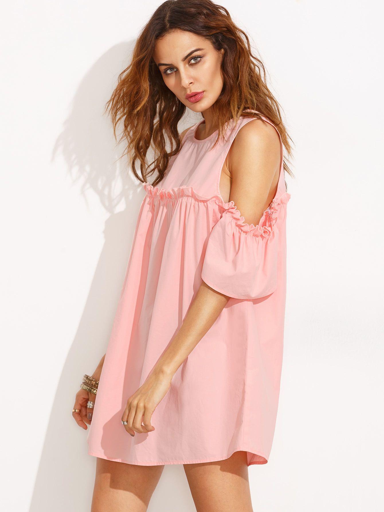 11434dbc8f Frill Cold Shoulder Shift Dress | CHIC • FASHIONISTA | Dresses, Chic ...
