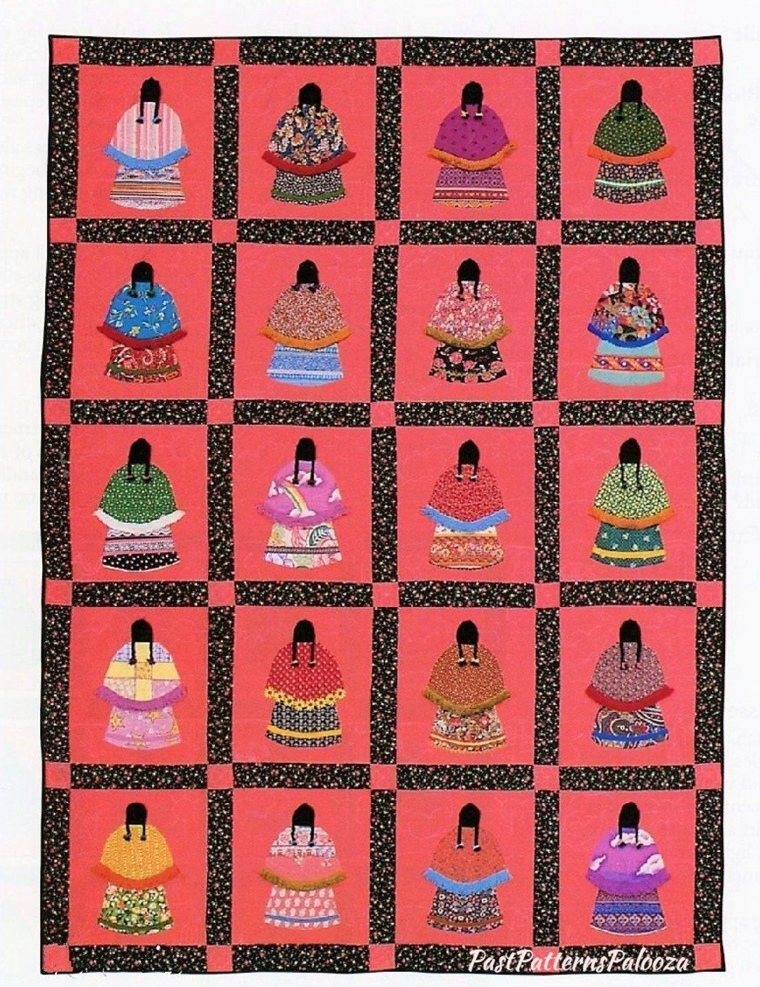 Vintage Sewing Pattern Native American Little Indian Girls Bed Quilt PDF Instant Digital Download Patchwork Applique Block Sunbonnet Variant #indianbeddoll