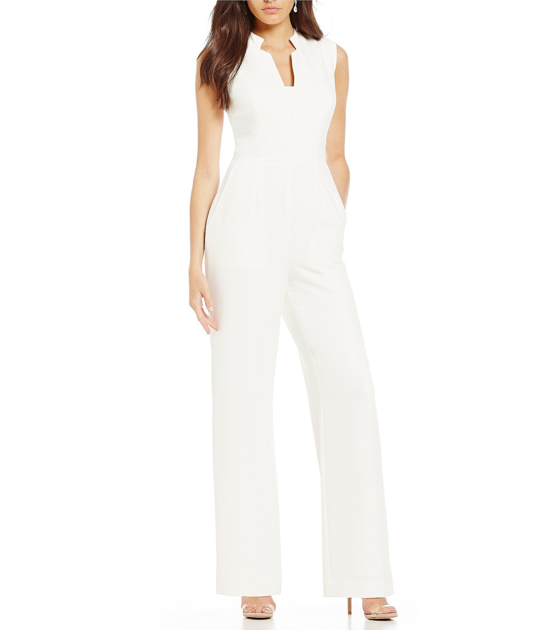 dcc58187314 Tahari by ASL Raised Collar Sleeveless Solid Crepe Jumpsuit