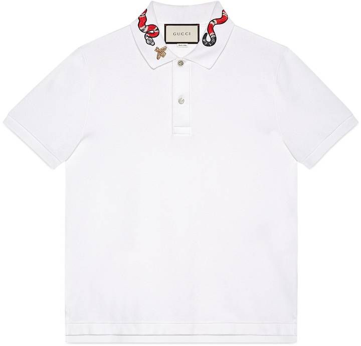 7957bc5dbab Cotton polo with Kingsnake embroidery | Designer T-shirts | Polo ...