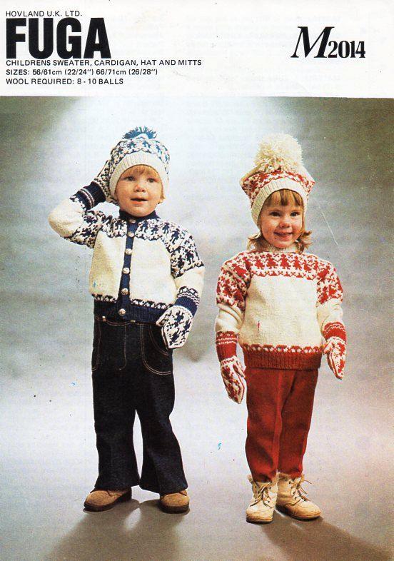 baby / childs fair isle sweater cardigan hat mitts knitting ...