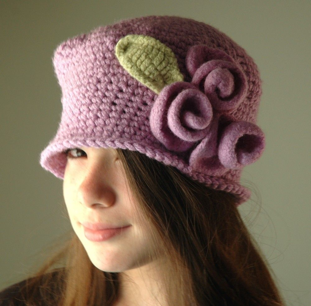 Lavender Crochet Hat, Lilac Cloche Hat with Lilac Wool Felt Roses ...
