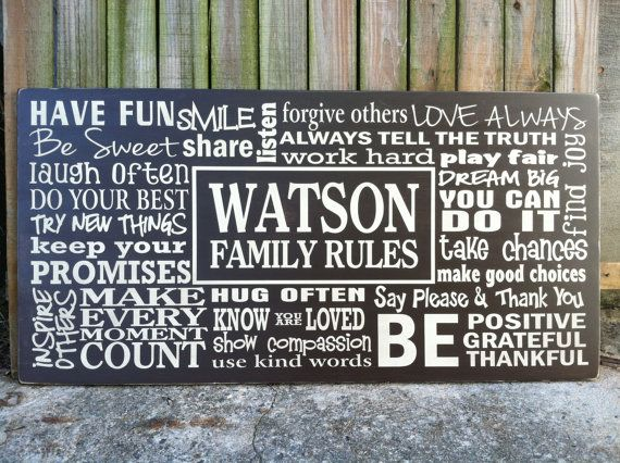 Customized Family Rules - (LARGE) Horizontal - 4'x2' - Subway Sign Hand Painted and Distressed