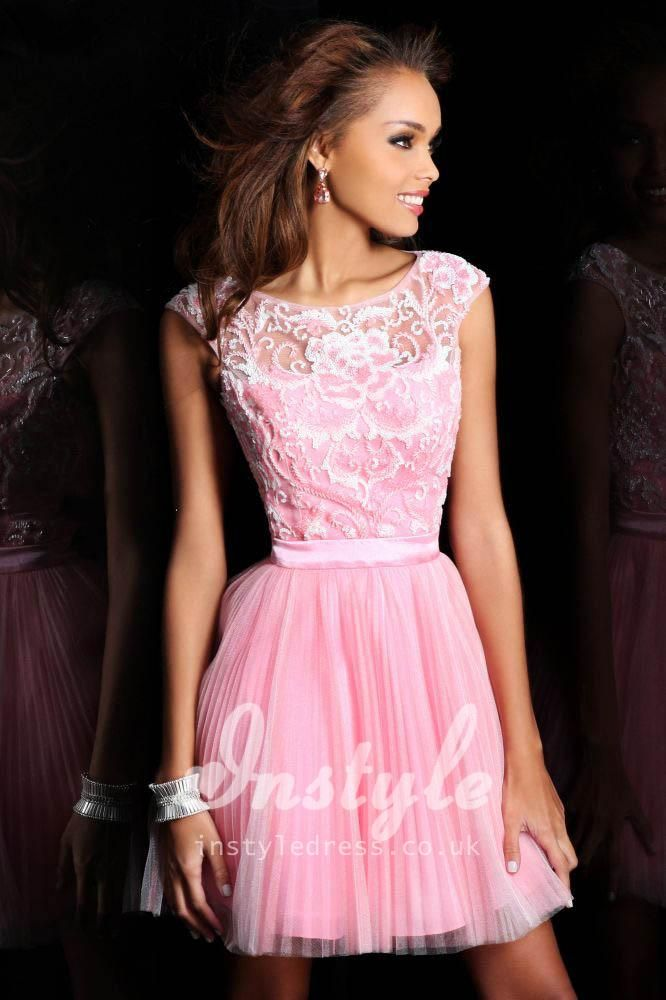 Short Pink Homecoming Dress with Cap Sleeves and Open Back £106 ...