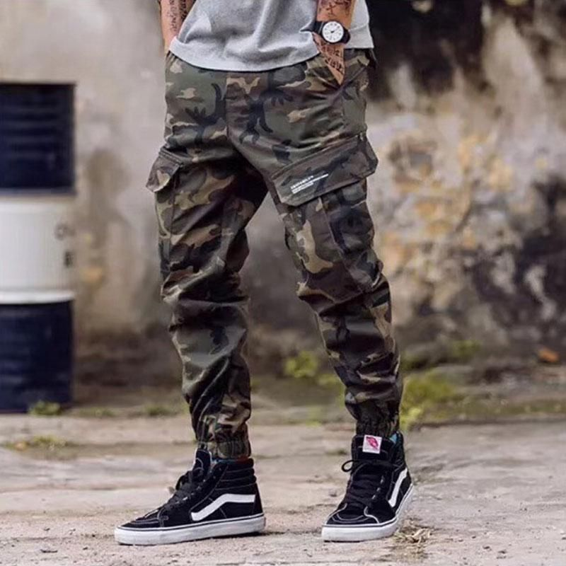 Mens Camouflage Pants Elastic Waist Casual Jogger Style Sweatpants Trousers UK