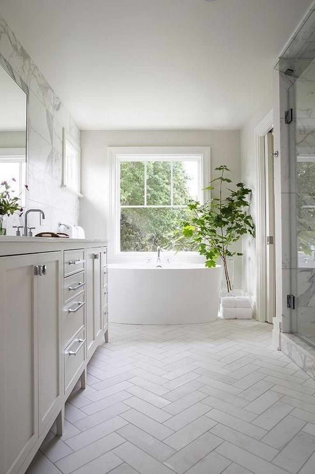 73 Beautiful White Subway Tiled Bathroom With Marble ...