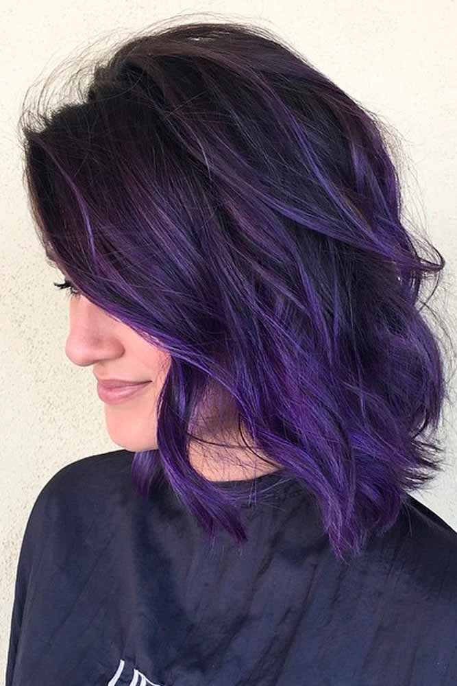 75 Tempting And Attractive Purple Hair Looks Lovehairstyles Com Hair Styles Dark Purple Hair Color Dark Purple Hair