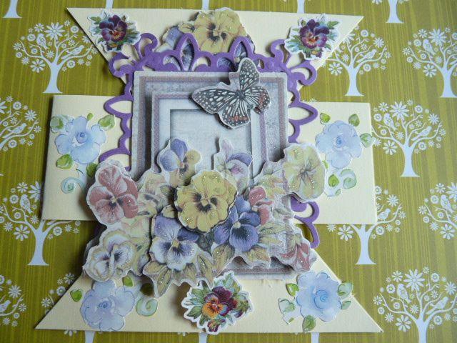 Zandloper kaart met Joy glitter bloemen