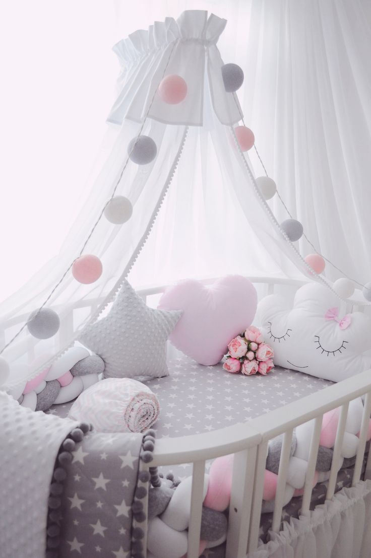 Pink And Gray Baby Girl Nursery Room Decor With White Canopy And Fluffy Pom Pom Detail Baby Girl Bedroom Girl Nursery Room Baby Girl Room