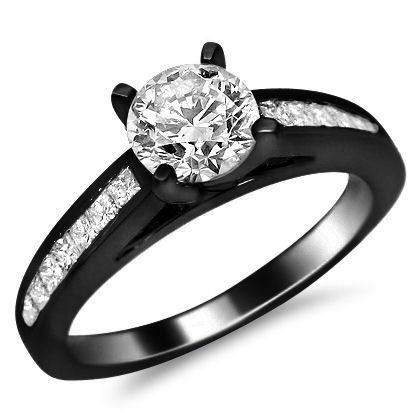 14k black gold channel set diamond engagement ring heres a simple but unique 10 carat - Black And White Wedding Rings
