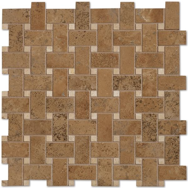Walnut Dark Honed And Filled 12x12 Basketweave Travertine Mosaics By Country Floors Marble Mosaic Daltile Marble Mosaic Tiles