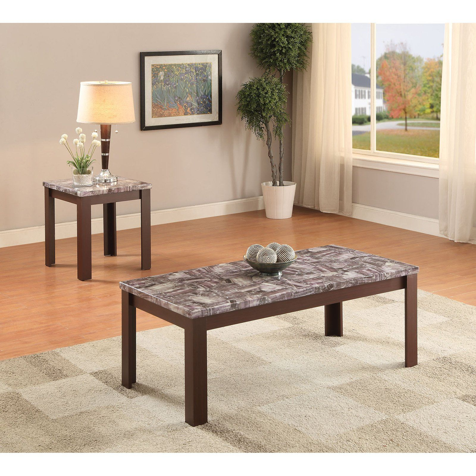 Acme Furniture Arabia Faux Marble and Cherry 2 Piece