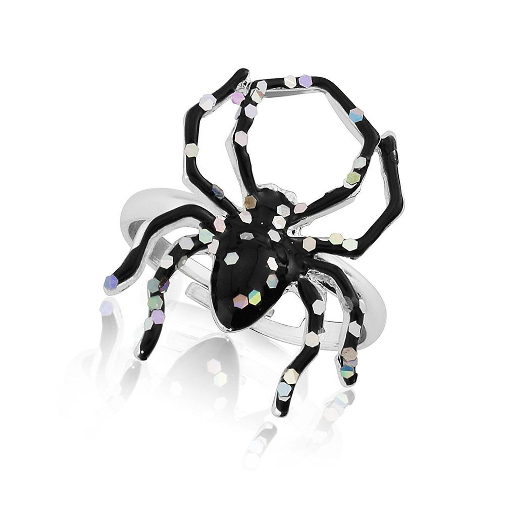 Kids  Womens Halloween Spider Ring Scary Sparkly Fancy Dress Witch Costume  Adult 04ba420836