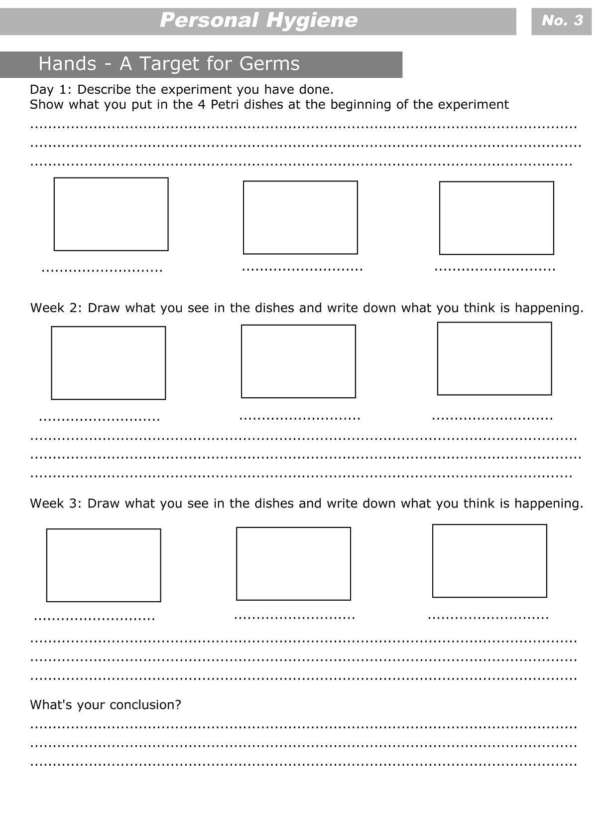 Personal Hygiene Worksheets For Kids Level 3 3