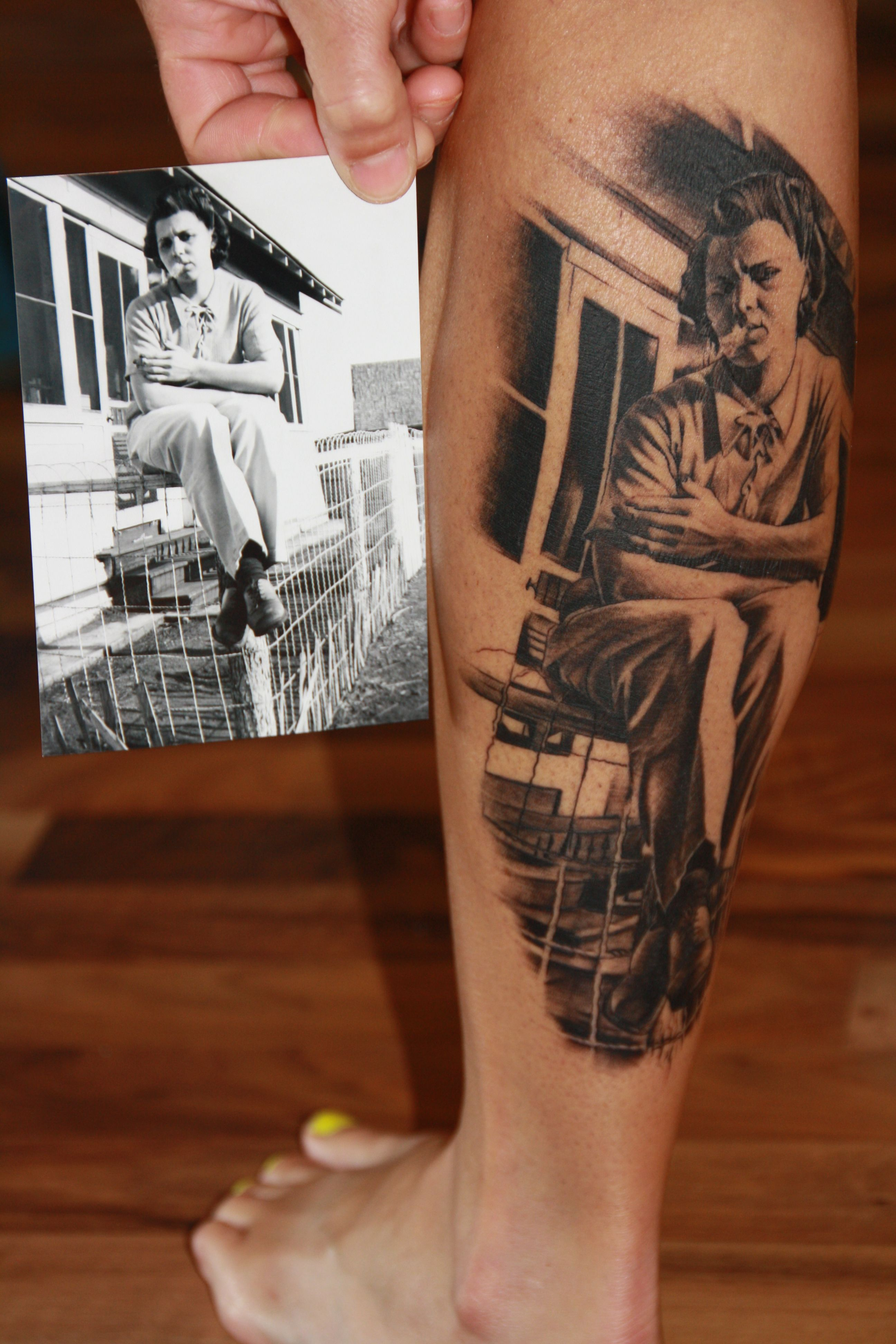 a megan hoogland portrait tattoo of my grandmother from the 30 s