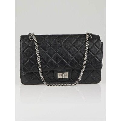 40c7fe0ab Chanel Black 2.55 Reissue Quilted Classic Leather 227 Jumbo Flap Bag ...