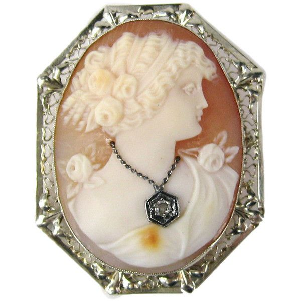 Preowned Diamond Gold Fine Lady Cameo Pendant / Brooch ($1,750) ❤ liked on Polyvore featuring jewelry, brooches, necklaces, multiple, cameo brooch, 14k yellow gold pendant, 14k diamond pendant, 14k pendant and gold jewelry