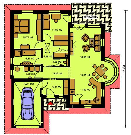 Plano De Casa Estilo Chalet Sencilla De 3 Dormitorios Con Garaje Planos De Casas Estilo Chalet Casa Sencillas Casa Estilo