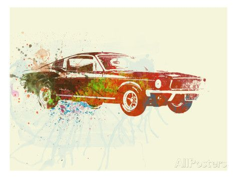Ford Mustang Watercolor Poster By Naxart At Allposters Com Watercolor Art Prints Art Mustang