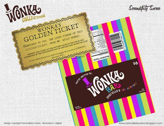 Custom Invitation Willy Wonka Chocolate bar wrapper and golden